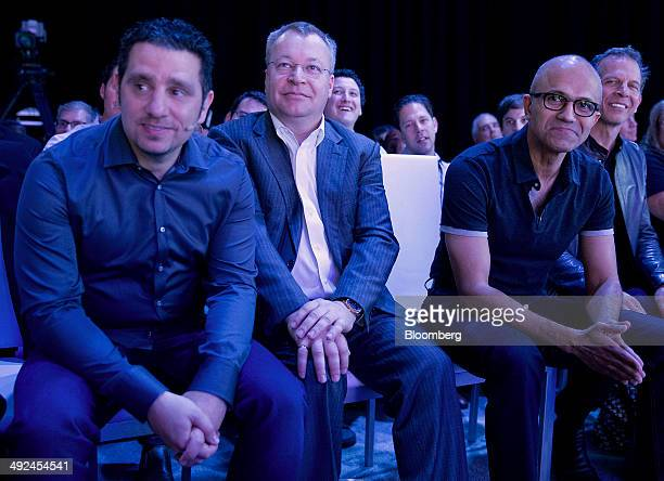 Panos Panay, corporate vice president of Microsoft Corp. Surface, from left, Stephen Elop, executive vice president of devices and studio for...