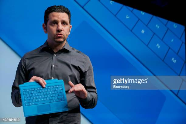 Panos Panay, corporate vice president of Microsoft Corp. Surface, holds the Surface Pro 3 while speaking at an event in New York, U.S., on Tuesday,...
