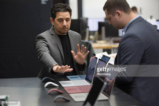 Panos Panay, corporate vice president of Microsoft Corp. Surface, speaks during an interview at the hardware lab of the Microsoft Corp. Main campus...