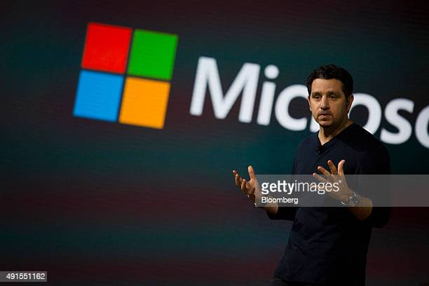Panos Panay, corporate vice president of Microsoft Corp. Surface, unveils the new Microsoft Lumia smartphone during the Windows 10 Devices event in...