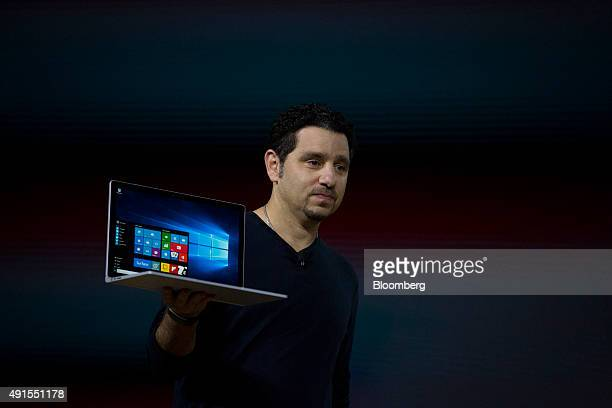 Panos Panay, corporate vice president of Microsoft Corp. Surface, unveils the new Microsoft Surface Book laptop during the Windows 10 Devices event...