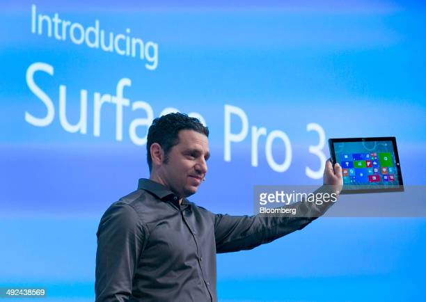 Panos Panay corporate vice president of Microsoft Corp Surface displays the Surface Pro 3 during an event in New York US on Tuesday May 20 2014...