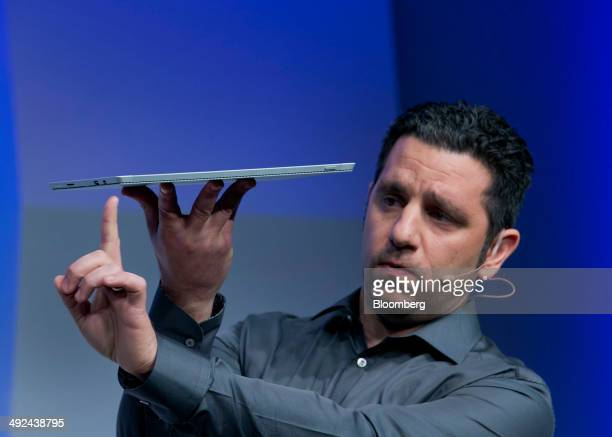 Panos Panay, corporate vice president of Microsoft Corp. Surface, displays the Surface Pro 3 during an event in New York, U.S., on Tuesday, May 20,...