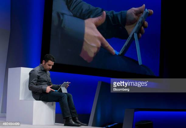 Panos Panay, corporate vice president of Microsoft Corp. Surface, demonstrates the Surface Pro 3 while speaking at an event in New York, U.S., on...
