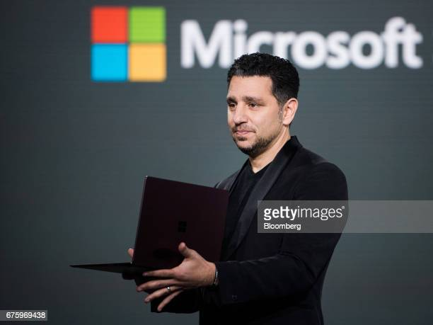 Panos Panay, corporate vice president of Microsoft Corp. Surface, unveils the new Surface laptop computer with Intel CORE i7 processor during the...