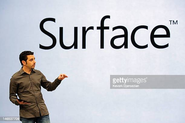 Panos Panay General Manger of Surface holds the tablet Surface by Microsoft during a news conference at Milk Studios on June 18 2012 in Los Angeles...