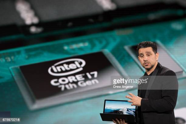 Panos Panay vice president of Microsoft Surface Computing speaks about the new Microsoft Surface Laptop during a Microsoft launch event May 2 2017 in...