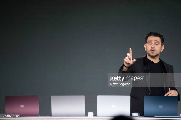 Panos Panay, vice president of Microsoft Surface Computing, speaks about the new Microsoft Surface Laptop during a Microsoft launch event, May 2,...