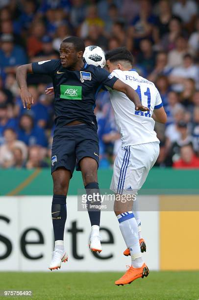 Pans de Angelo Ernesto of Hertha and Nassim Boujellab of Schalke battle for the ball during the German A Juniors Championship final match between FC...