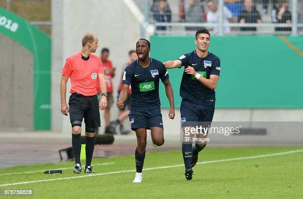 Pans de Angelo Ernesto of Hertha celebrates after scoring his team`s first goal during the German A Juniors Championship final match between FC...