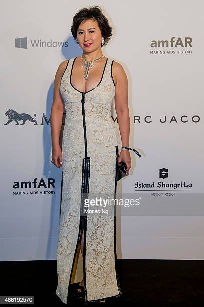 Pansy Ho arrives on the red carpet during the 2015 amfAR Hong Kong gala at Shaw Studios on March 14 2015 in Hong Kong