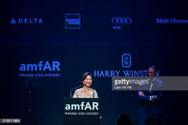 Pansy Ho attends the Gala Dinner as part of the amfAR Hong Kong Gala 2016 at Shaw Studios on March 19 2016 in Hong Kong Hong Kong