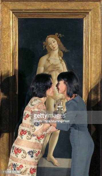 Pansy Ho Chiuking and Alessandra Schiavo Consul General of Italy in Hong Kong and Macau toast during the 'Sandro Botticelli's Venus' unveiling...