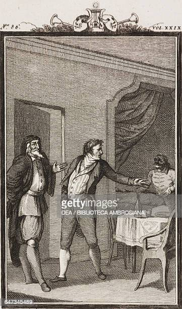 Pantalone Ottavio and Brighella in the dining room engraving by Antonio Viviani from a drawing by G Steneri from Il tutore Act II Scene 11 Comedies...