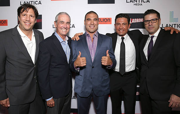 Pantelion CEO Paul Presburger, Producer James McNamara, Euardo Yanez, Fernando Colunga and Director Joe Menedez attend the Pantelion Films'...