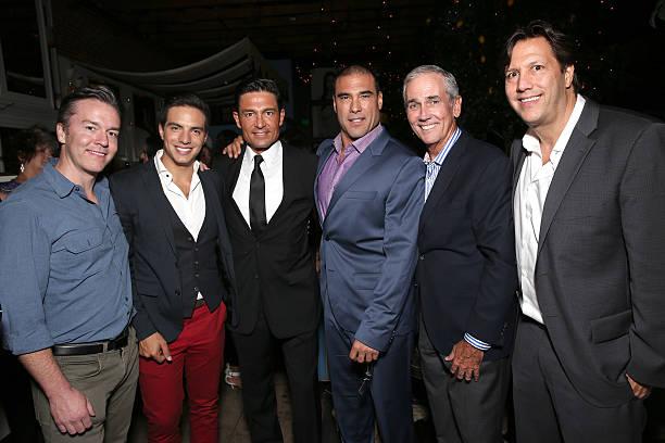 Pantelion COO Edward Allen, Vadhir Derbez, Fernando Colunga, Euardo Yanez, Producer James McNamara and Pantelion CEO Paul Presburger attend the after...