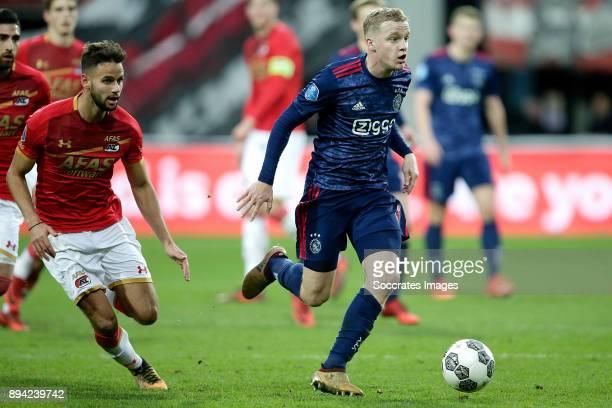 Pantelis Hatzidiakos of AZ Alkmaar Donny van de Beek of Ajax during the Dutch Eredivisie match between AZ Alkmaar v Ajax at the AFAS Stadium on...
