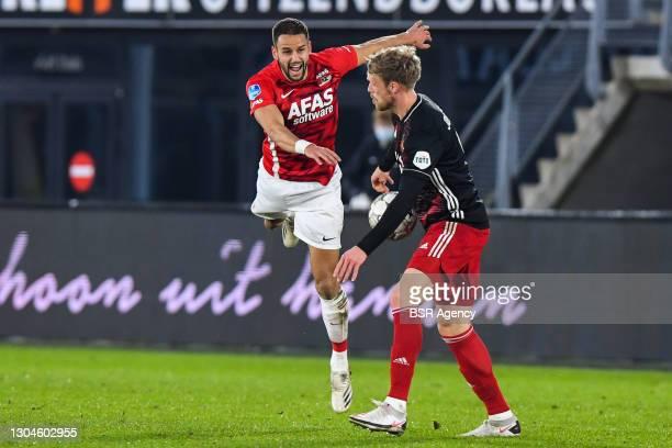 Pantelis Hatzidiakos of AZ and Nicolai Jorgensen of Feyenoord during the Dutch Eredivisie match between AZ and Feyenoord at AFAS Stadion on February...