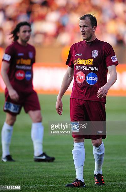 Pantelis Kapetanos of CFR 1907 Cluj in action during the Romanian Liga 1 match between CFR 1907 Cluj and FC Steaua Bucuresti held on May 20 2012 at...