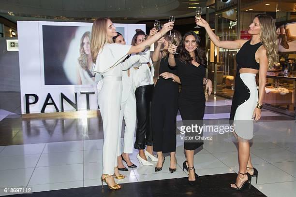 Pantene ambassadresses Chiara Ferragni Paulina Goto Michelle Salas Pamela Allier Ana Brenda Contreras and Gisele Bundchen make a toast during the...