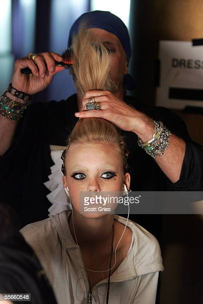Pantene Consulting Hair Stylist Danilo prepares a model at the LAMB by Gwen Stefani Spring 2006 fashion show during Olympus Fashion Week at the...