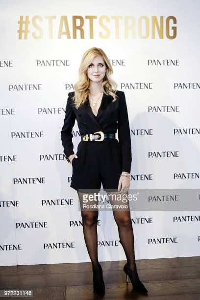Pantene Global Ambassador Chiara Ferragni poses during the 'Strong Is Beautiful' Pantenne talk on June 12 2018 in Milan Italy