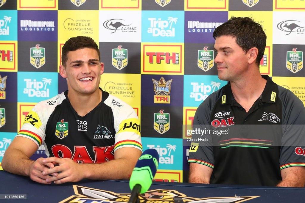 Panters player Nathan Cleary and coach Cameron Ciraldo speak to media after the round 22 NRL match between the Gold Coast Titans and the Penrith Panthers at Cbus Super Stadium on August 11, 2018 in Gold Coast, Australia.