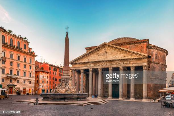 pantheon and fountain in rome - place of worship stock pictures, royalty-free photos & images