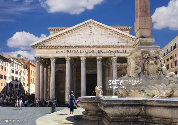 pantheon and piazza della rotonda, rome, italy. - pantheon rome stock photos and pictures