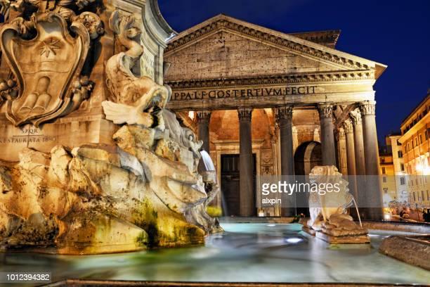 pantheon at sunset, rome - pantheon roma foto e immagini stock