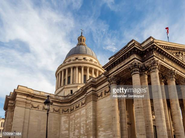 pantheon building in paris on a sunny day, sunset time. france - paris rocks stock pictures, royalty-free photos & images