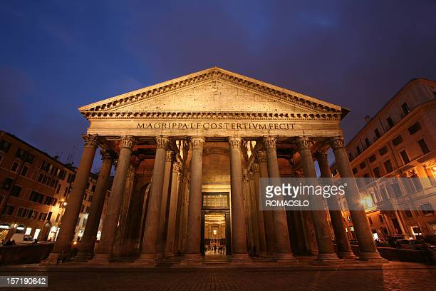 pantheon by night - pantheon rome stock photos and pictures