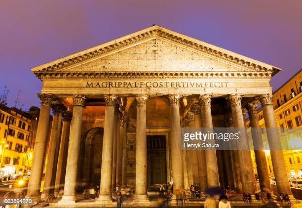 pantheon in piazza della rotonda in rome - pantheon rome stock photos and pictures