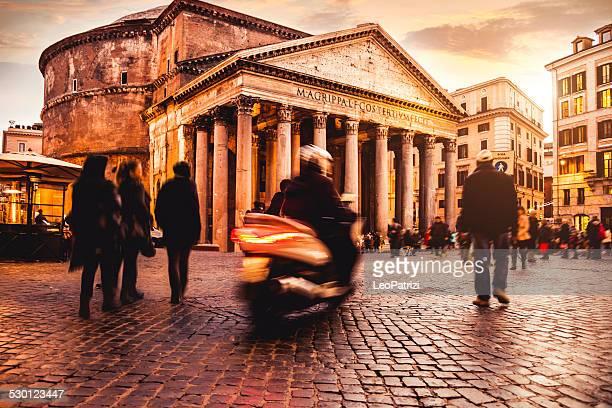 pantheon in rome and people - pantheon rome stock photos and pictures