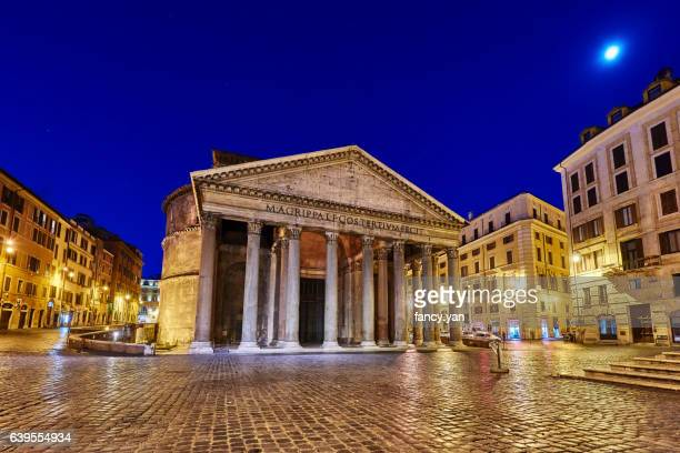 pantheon in rome at night - pantheon rome stock photos and pictures