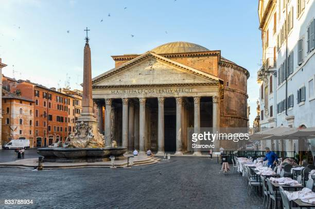 pantheon in the morning - rome, italy - pantheon rome stock photos and pictures