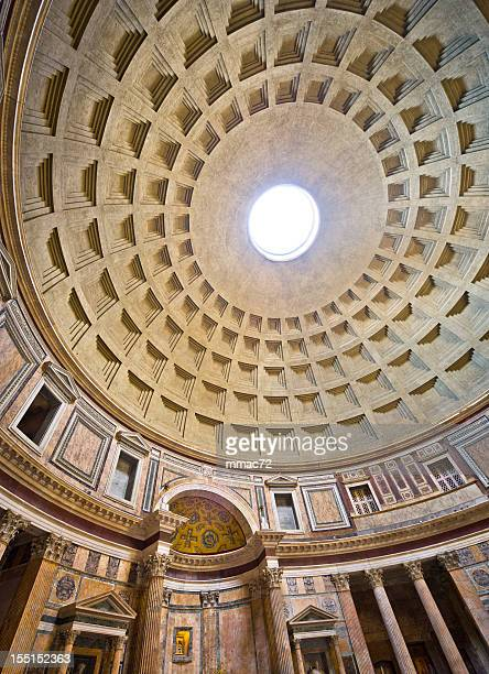 pantheon interior in rome - pantheon rome stock photos and pictures