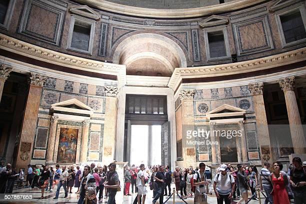 Pantheon interior with tourists