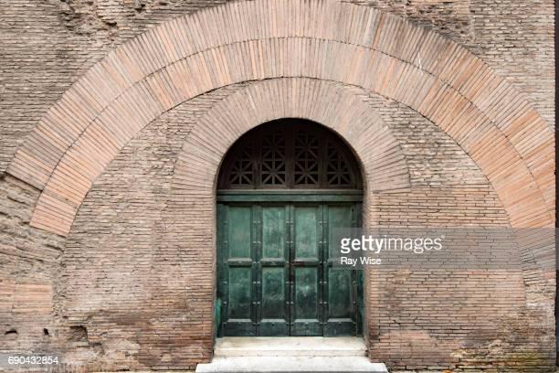 pantheon rear door - pantheon rome stock photos and pictures