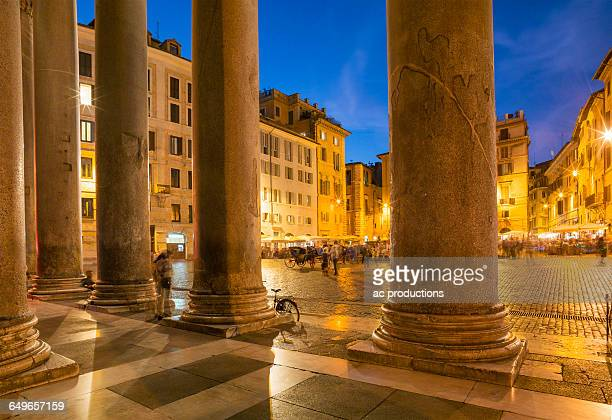 pantheon square illuminated at night, rome, lazio, italy - pantheon rome stock photos and pictures