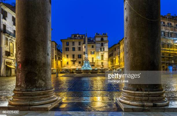 Pantheon Square illuminated at night, Rome, Lazio, Italy