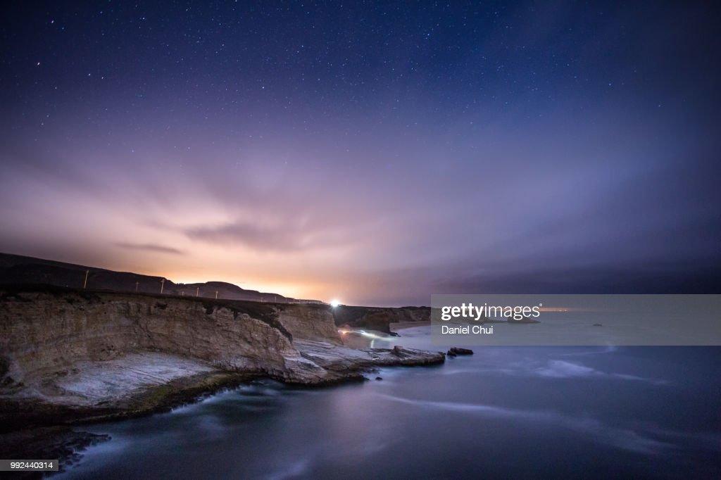 Panther Beach Night Exploration : Stock Photo