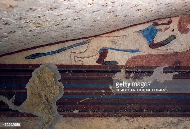 Panther fresco of the Tomb of the Lotus Flower Necropolis of Tarquinia Lazio Italy Etruscan civilisation 6th century BC