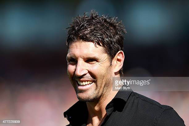 Panthers assistant coach Trent Barrett looks on before the round one NRL match between the Penrith Panthers and the Newcastle Knights at Sportingbet...