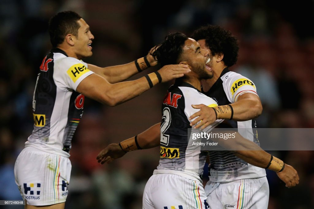 Panthers celebrate a try from Corey Harawira-Naera during the round 10 NRL match between the Newcastle Knights and the Penrith Panthers at McDonald Jones Stadium on May 11, 2018 in Newcastle, Australia.