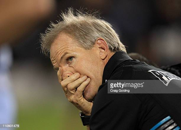 Panthers coach Matt Elliott reacts to another Sharks try during the round three NRL match between the Penrith Panthers and the Cronulla Sharks at...