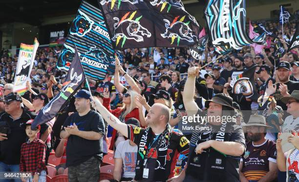 Panthers fans cheer a Penrith try during the round six NRL match between the Penrith Panthers and the Gold Coast Titans on April 15 2018 in Penrith...