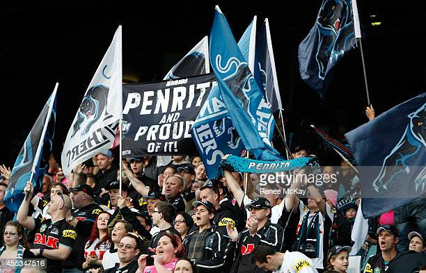 Panthers fans show their support during the NRL 1st Qualifying Final match between the Sydney Roosters and the Penrith Panthers at Allianz Stadium on...