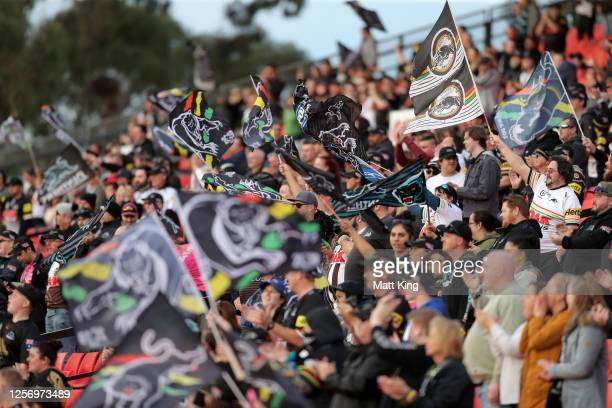 Panthers fans show their support during the round 10 NRL match between the Penrith Panthers and the North Queensland Cowboys at Panthers Stadium on...