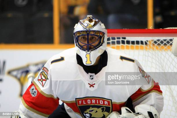 Panthers goalie Roberto Luongo is shown during the second preseason game between the Nashville Predators and the Florida Panthers held on September...